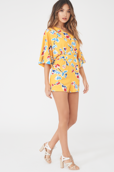 Lavish Alice off the shoulder kimono playsuit in yellow floral print