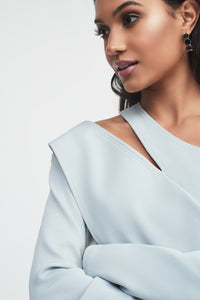 Lavish Alice asymmetric one shoulder grey rib knit top