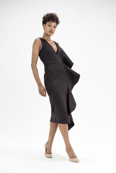 Lavish Alice asymmetric scuba frill dress in black