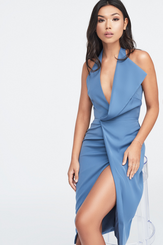 Lavish Alice dusty blue halterneck dress with thigh split and oversized lapel