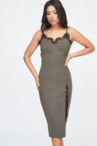 khaki cami midi dress with side split and lace insert