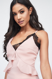 Lavish Alice nude cami top with black lace insert
