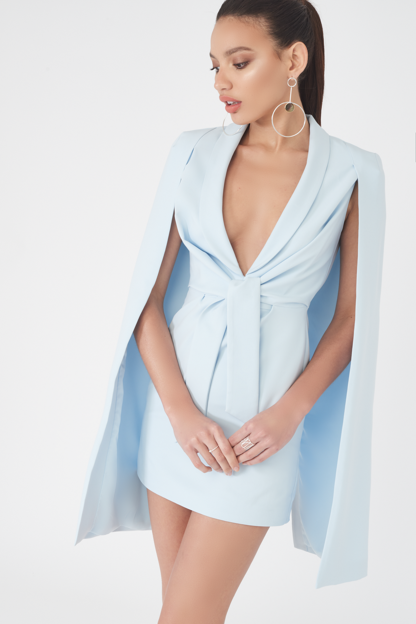 Lavish Alice ice blue cape plunge neck mini dress
