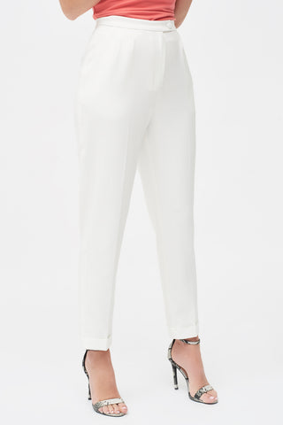Lavish Alice Tapered Suit Trousers in White with folded hem
