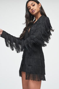 Lavish Alice Black tassel blazer playsuit