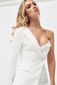 Lavish Alice white one shoulder fitted blazer suit jacket