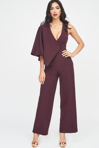 Lavish Alice wide leg jumpsuit with draped sleeve in deep purple