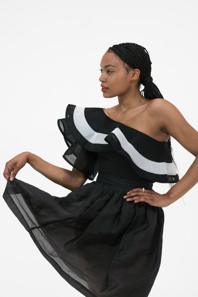 One shoulder layer ruffle trim  bodysuit in black with white detail