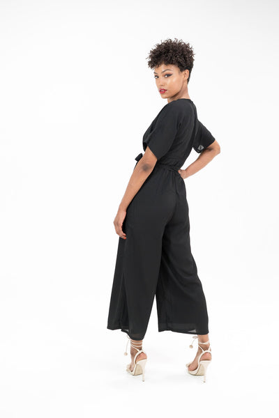 Pretty Lavish Black Culotte Jumpsuit with Plunge Neck and Waist Tie