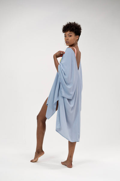 Pretty Lavish Mid Length Light Blue Draped Kimono