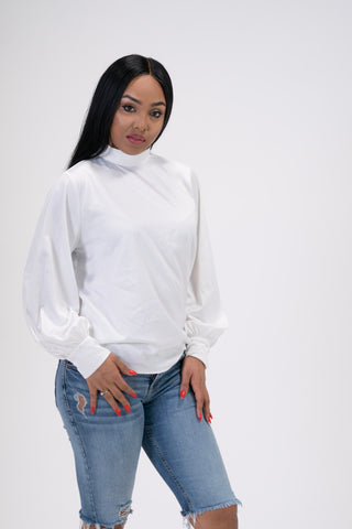 Pretty Lavish White High Neck Satin Blouse