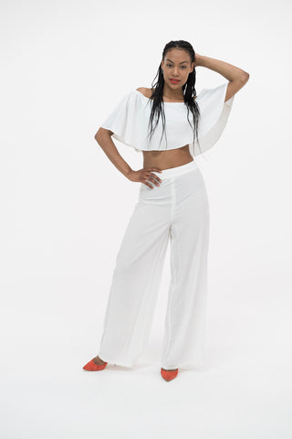 Pretty Lavish White Wide Leg Trouser and Crop Top Co Ord