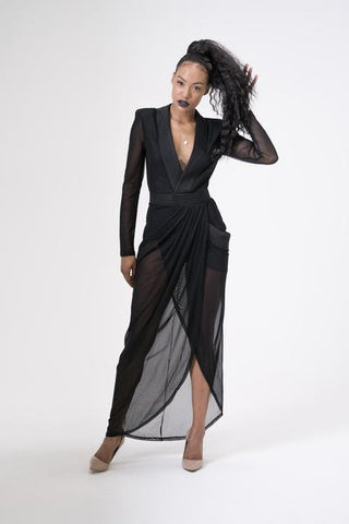 Sheer black maxi dress with high split