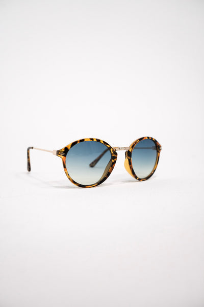 South Beach Tortoiseshell Round Blue Lens Retro Sunglasses