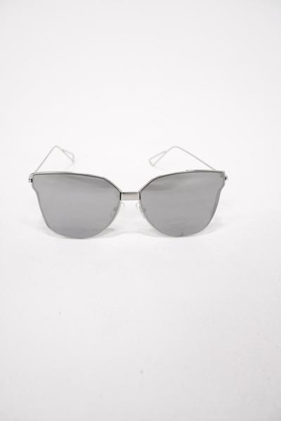 South Beach silver mirror cat eye sunglasses