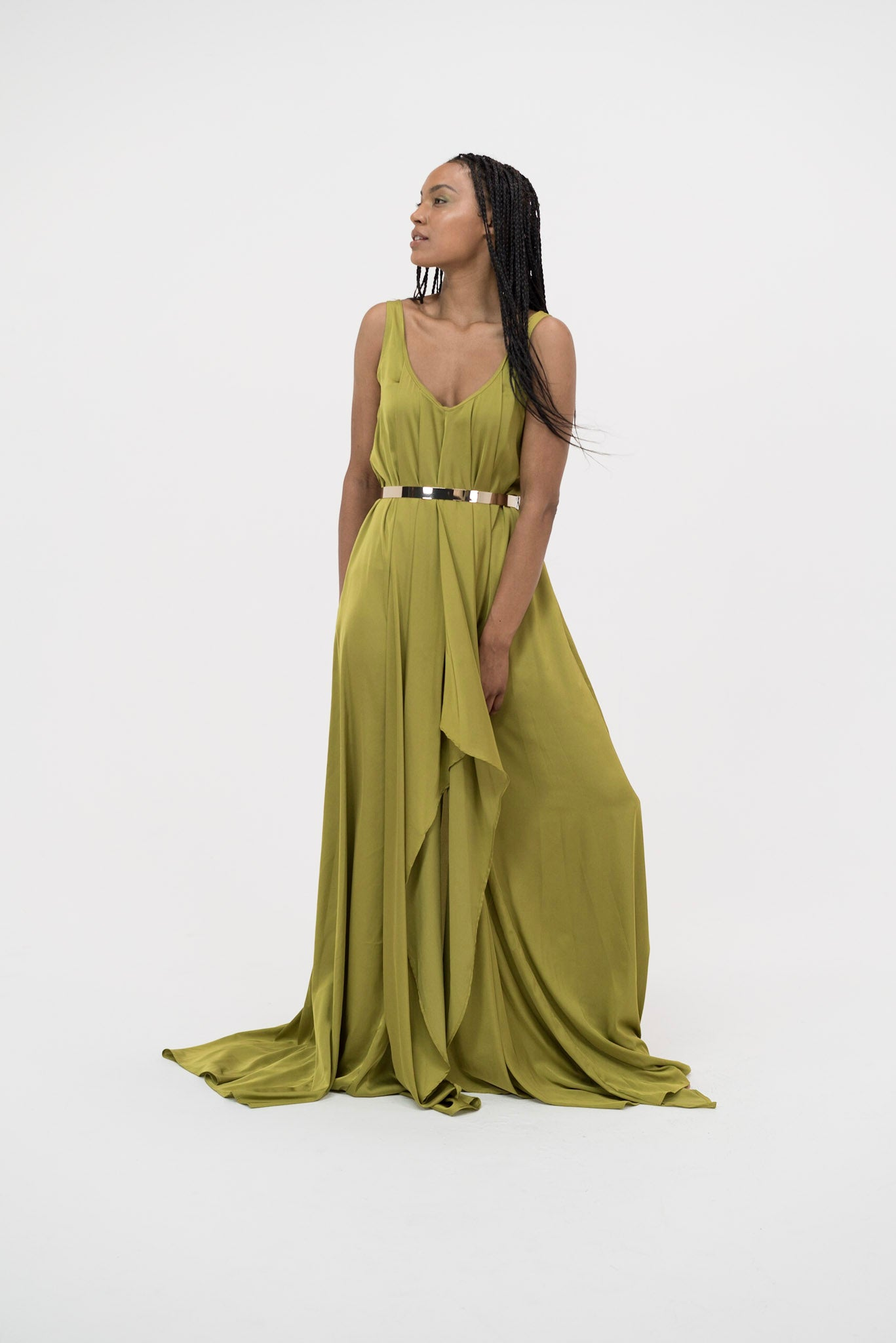 Syomirizwa Gupta Grecian Maxi Dress in Green