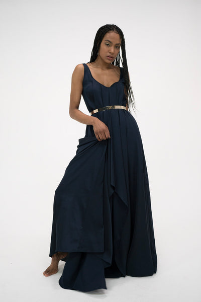 Syomirizwa Gupta Grecian Maxi Dress in Navy Blue