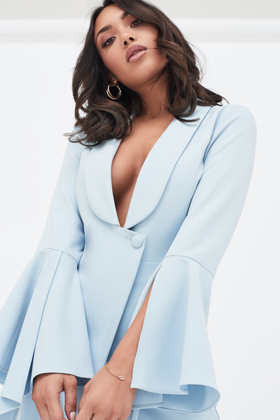 Lavish Alice dropped frill bell sleeve wide leg jumpsuit in dusty blue