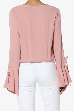Keen Bell Sleeve Wrap Front Blouse - TheMogan