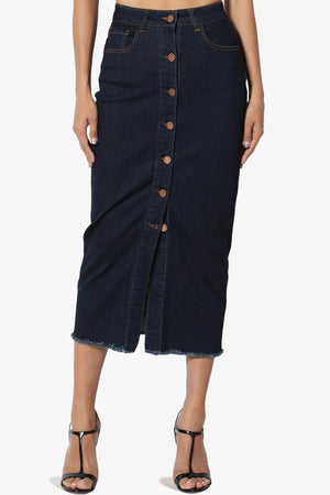 Dessie Buttoned Midi Denim Skirt - TheMogan