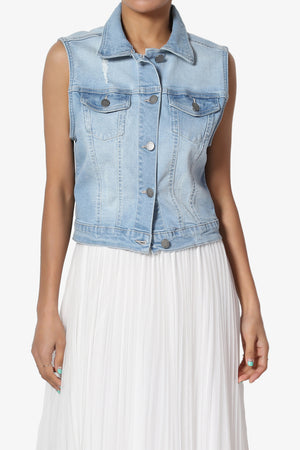 Tricia Washed Crop Denim Vest - TheMogan
