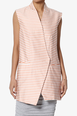 Lone Striped Sleeveless Blazer - TheMogan
