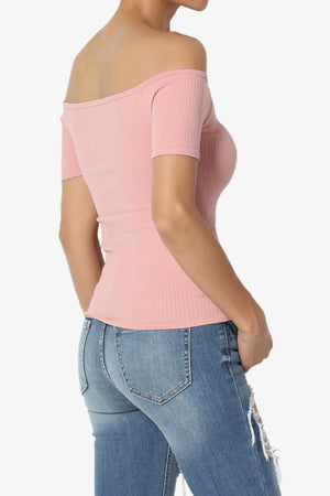 Latch Off Shoulder Ribbed Top