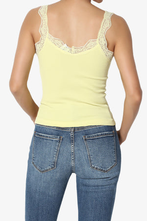 Kimmie Lace Trim Ribbed Button Front Cami