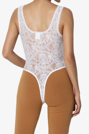 Tarkiln Lace Back Tank Thong Bodysuit