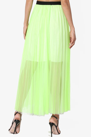 Mallorca Mesh Pleated Long Skirt - TheMogan