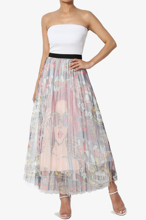 Pretty Women Print Pleated Long Skirt - TheMogan