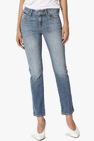 Selena Mid-Rise Cropped Boot Cut Jeans - TheMogan