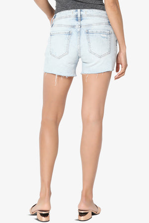 Riley Mid Rise Thigh Denim Shorts Light