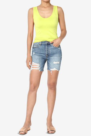 Kailey High Rise Mid Thigh Denim Shorts in MD