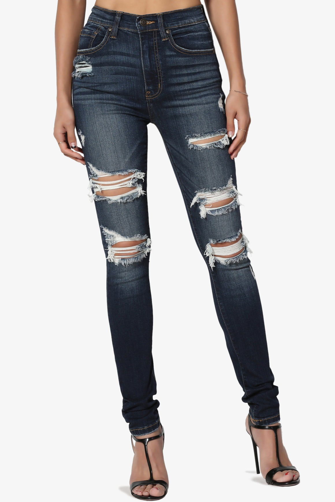 Liria High Rise Shred Skinny Jeans