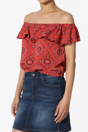 Posey Ruffle Off Shoulder Crop Top - TheMogan