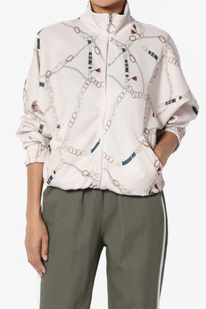 Abay Chain Print Bomber Jacket - TheMogan