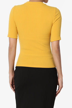 Kauai Fitted Crew Neck Ribbed Top - TheMogan