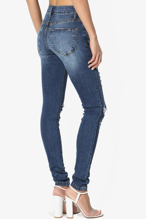 Amora Mid Rise Distressed Skinny Jeans - TheMogan