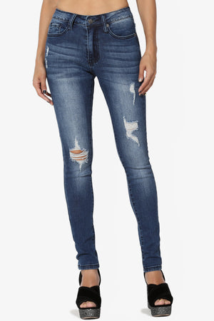 Amora Natural Rise Distressed Skinny Jeans - TheMogan