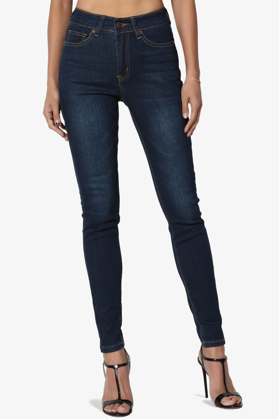 Jass Basic High Rise Skinny Jeans in Dark - TheMogan