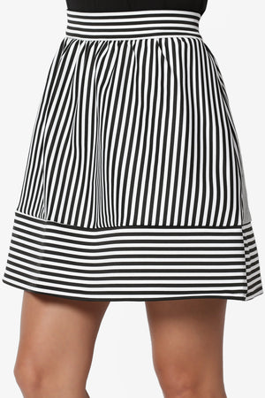 Andrita Stripe Flared Mini Skirt - TheMogan