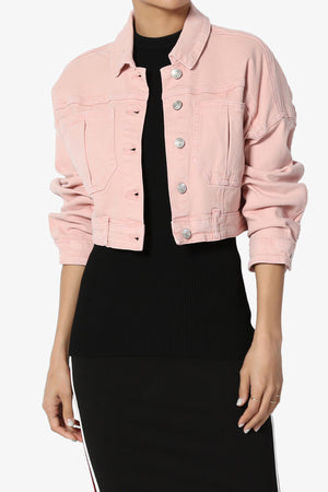 Pastel Boxy Cropped Denim Jacket - TheMogan
