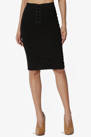 Freya Lace Up Ponte Pencil Skirt - TheMogan