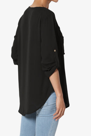 Astoria Tab Sleeve Tiered V-Neck Blouse - TheMogan