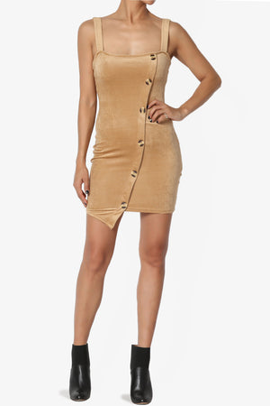 Villarosa Asymmetric Button Corduroy Dress - TheMogan