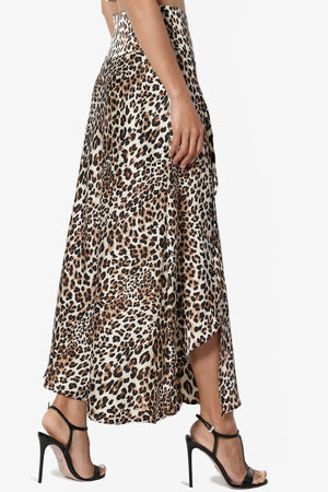 Sonoma Leopard Satin Wrap Skirt - TheMogan