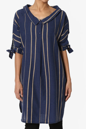 Ewe Striped Wide Neck Shirt Dress - TheMogan