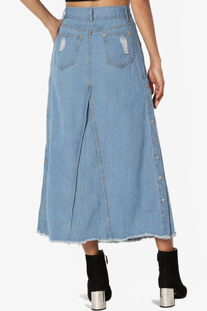Creestal Denim Midi Skirt - TheMogan