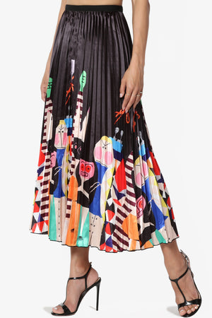 Emilly Printed Satin Pleated Skirt - TheMogan